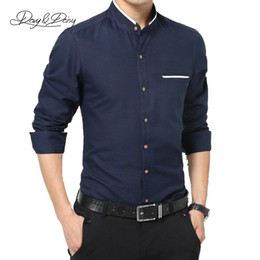 $enCountryForm.capitalKeyWord NZ - Wholesale-4 Colors Men Shirts Long Sleeve Fashion Mandarin Collar Solid Men Dress Shirt High Quality Brand Casual Camisa Masculina DS-039
