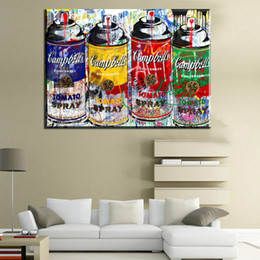 Spray Can Painting Australia - ZZ240 modern abstract canvas art colorful paint cans by alec monopoly canvas pictures oil art painting for livingroom bedroom decoration