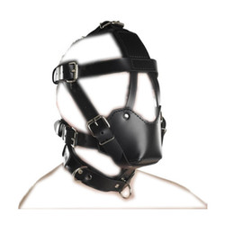 Esclavage Cuir Bouclier Pas Cher-Nouveau design Bondage Hood BDSM Bondage Muzzle Fetish Sex Play Costume de jouet Might cuir Restraint Mask Buckle réglable B0306028