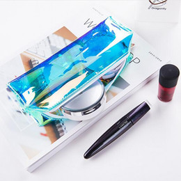 Pvc Pencil Pouch Wholesale Canada - 30xWaterproof PVC Portable Hologram Color Mini Pencil Case Zip Pouch Makeup Cosmetic Storage Bag