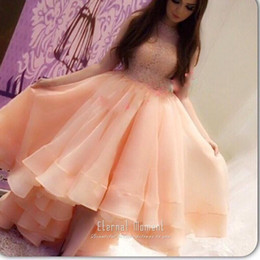 Pink High Low Party Dresses Canada - 2019 Blush Pink Ruffle High Low Organza Prom Dress Arabic Dubai Evening Dress High Neck Lace Fashion Designer Party Evening Gowns Custom