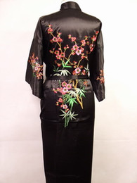 embroidered robes 2019 - Wholesale- Sexy Black Women Silk Kimono Kaftan Robe Gown Chinese Traditional Embroidered Sleepwear Nightgown Size S M L