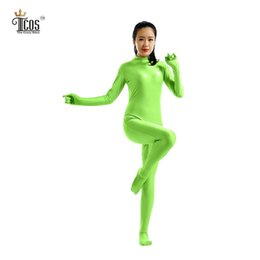 Femme Verte Pas Cher-Gros- (/ lot 5 pièces) Zentai Bodysuit Femmes Vert Turtleneck Unitard Lycra Nylon Spandex Second Skin Costume Full Body Headless