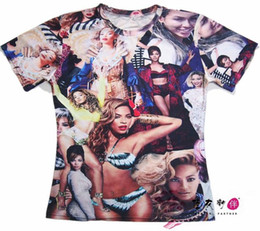 Nouveaux T-shirts Hip Hop Pas Cher-New homme femme couples jeunes garçons filles t shirt global star impression de Beyonce Collage 3d imprimé O Neck hip hop rap T-shirt Tops T-shirt