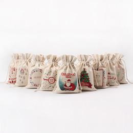 Plastic storage Pockets online shopping - Christmas Theme Bundle Pocket For Many Styles Canvas Drawstring Bag Creative Gift Storage Bags xx C R