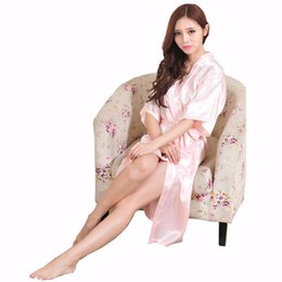 Barato Pijamas Atacado Chinês-Venda por atacado - Hot Sale Pink Ladies Kimono Bath Gown Estilo chinês Summer Casual Robe Mulheres Camisola cinto Pijamas S M L XL XXL XXXL NB026