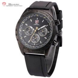 Steel Display Case Canada - SHARK Sport Watch Full Black 6 Hands Stainless Steel Case Relogio 24 Hours Display Chronograph Quartz Military Watches   SH273