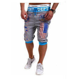 Black Summer Baggy Trousers NZ - Wholesale-Men Sports USA Flag Printing Summer Harem Training Dance Baggy Jogger Casual Shorts Slacks Trousers Black Grey Blue M-XXL