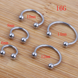 wholesale stainless steel horseshoe ring UK - Nose ring 100pcs lot mix 6 8 10 12 14mm stainless steel body jewelry horseshoe Ring