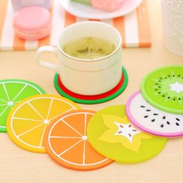 Discount cute fruit holders - Wholesale- Colorful Cute Silicone Fruits Cup Mats Cushion Holder Home Dining Room Decor Drink Placement Mat 7 Styles