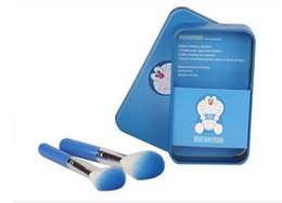 Doraemon box online shopping - 100pcs Doraemon Sweet cute Mini Makeup brush Set cosmetics kit make up brush Kit with Metal box D646