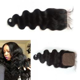 $enCountryForm.capitalKeyWord UK - Malaysian Silk Base Closures Body wave 4x4 Free Middle 3 Part Silk Closure Unprocessed Virgin Human Hair Natural Color LaurieJ Hair