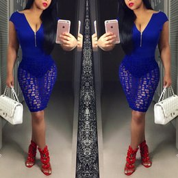 Deep Sexy Vneck Pas Cher-2016 New Fashion Clubwear Bandage Dress Deep VNeck Zipper Lace Dress Party Robes sexy Slim Package Hip Blue Bodysuit Robes Livraison gratuite
