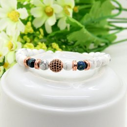 $enCountryForm.capitalKeyWord Canada - Hot Sale 6mm White Howlite Marble Stone & Blue Sediment Beads 9mm Micro Paved Black Cz Beaded Mens Party Gift Bracelet