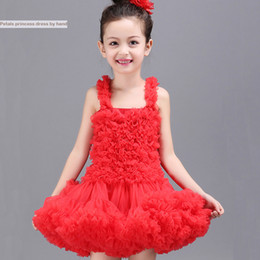 Red Tutu Christmas NZ - Baby & Kids Clothing Girls' Dresses wedding flower girl 2018 vintage Costume Tutu Child skirts party gowns Tulle red white pageant dress