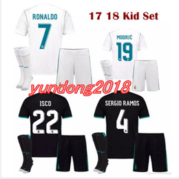 682cb3591 ... 2017 2018 Real madrid Kids Youth Madrid Jersey Kit Child 17 18 Ronaldo home  white away ...