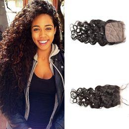 Hidden knots closure online shopping - Mongolian silk base closure water wave hair Free Middle Part Silk top Closure Hidden Knots G EASY