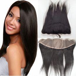 $enCountryForm.capitalKeyWord NZ - 8A Straight Brazilian Virgin Human Hair Silk Base Lace Frontal 13x4 Free Middle 3 Way Part Silk Top Full Lace Frontal Closure