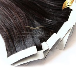 "Discount glue hair extensions color - 100g 40pcs 18"" 20"" 22"" 24"" Natural Color Glue Skin Hair Weft Tape in Human Hair Extensions INDIAN Ha"