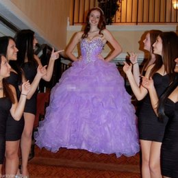 Robe Sweetheart Sweet Sweet Sweetheart Pas Cher-Purple Masquerade Sweet 16 Robes Quinceanera 2017 Robe de bal Sweetheart Crystal Ruffles Tiered Skirt Plus Size Princess Robes formelles de ballet