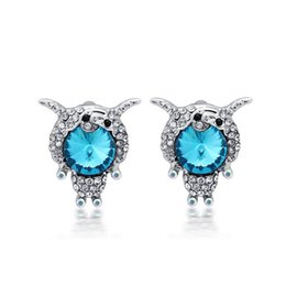 sapphire crystals NZ - Blue Sapphire Clear Crystal Paved 18K White Gold Plated Cute Sheep Animal Stud Earrings for Women Girls