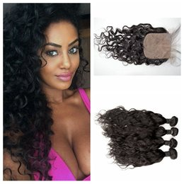 Water Knots Canada - Cheap Human Hair Weave Bundles With Silk Base Closure Bleached Knots 4x4 Malaysian Water Wave top closure G-EASY