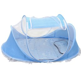 Oreiller Pliable Pour Bébé Pas Cher-Vente en gros - Baby Mosquito Crib Netting Sets Mattress Foldable Summer Cradle Bed Mat + Pillow + Music Bag