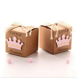 $enCountryForm.capitalKeyWord Canada - Little Princess Pink Girl Baby Shower Paper Pillow Cream Wedding Decoration Favors and Gifts Wedding Supplies Candy Boxes Gift Packaging..