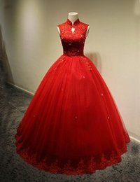 $enCountryForm.capitalKeyWord Canada - 2016 New Lace Sequins Wedding Dresses with Ball Gown Sleeveless High Neck Sexy Appliques Colorful Bridal Gowns Floor-Length Zipper Back Red