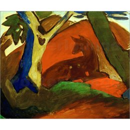 Marc Painting Australia - Canvas art Crouching Deer Franz Marc Paintings oil reproduction High quality Hand Painted