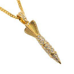 $enCountryForm.capitalKeyWord NZ - 18k Silver Gold Plated Arrow Pendant Hip Hop Iced Out Bling Rhinestone Fashion Punk Rocket Pendant Necklace Men Jewelry