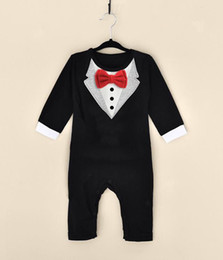 Man Suits Formal Wear Canada - Little Gentleman Conjoined Clothes Men Baby Boy Wedding Christening Formal Bow Smart Suit Outfit Tuxedo Jumpsuit Boys Wedding Suits
