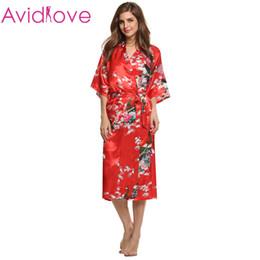 Wholesale-Avidlove Brand 2016 Fashion Women V-Neck Silk Satin Pajamas Loose  Long Sexy Sleepwear Nightwear Robes Plus Size M 775fa1209