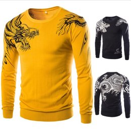 Patterned Knit Fabric Canada - Wholesale-Coolboy 2016 New High Quality Sweater Mens Dragon Pattern Pullover Men Cashmere Fabric Knitted Blusas Size XL XXL Color Black