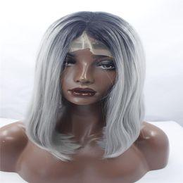 $enCountryForm.capitalKeyWord Australia - lace front wigs Sallyhair High Temperature Synthetic Straight Short Ombre Black Silver Grey Color American African Bob Wigs Hair Black Women