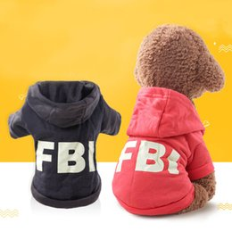$enCountryForm.capitalKeyWord Australia - Autumn Spring Pet Dog Clothes Cotton FBI Puppy Dog Clothes Coat Hoodie Costumes For Teddy Chihuahua Cat Apparel S-XL Size