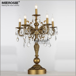 French Vintage Crystal Table Lamp Luxury Bronze Color Desk Lighting Fixture E14 Bulbs For Living Room Bedroom Hotel Light Affordable