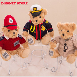 Chinese  30cm Kawaii Joint Pilot Teddy Bears Stuffed Plush Cute Toy Blue Fly Teddy-Bear Bear Ted Bears peluches Wedding Gifts teddy bear manufacturers