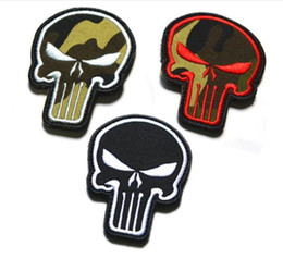 Punisher morale Patches online shopping - 2 inch D Embroidered patches with magic tape Punisher Skull USA WAVING FLAG MILSPEC ARMY MORALE ISAF DESERT outdoor badge GPS