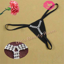Thong Bikini Canada - Women Rhinestone Diamond low waist Sexy mini Micro Bikini Thongs and G-Strings V-string panties Briefs Lingerie Underwear t back