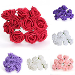 sexy school white girl 2018 - 15% off! 5.5cm Artificial Flowers Foam Rose Bouquet Wedding Decoration Colorful Scrapbooking Flower For Party Mother&#03