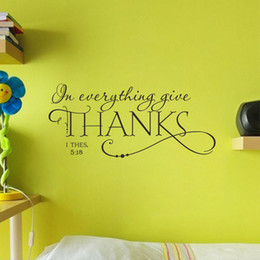 Thanks Stickers Canada - Free Shipping Fashion THANKS Pattern PVC Removable Waterproof Wall Sticker Room Thanks Givingday Decal Art papel de parede E5M1 order<$18no