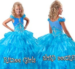 Robes Promotionnelles Pas Cher-Pas cher Promotionnel Robe Layered Floral Manches Volants Jupe Pageant Robe Ritzee Filles Organza Filles Pageant Robe HY1152
