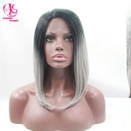 $enCountryForm.capitalKeyWord Canada - Cool! Glueless Silk Straight bob wig Synthetic Lace Front Wig Ombre Tone Color Black to gray Short Bob Heat Resistant Wigs