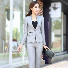 long formal suit jacket for women Canada - elegant formal office business women suit blazer jacket and pant for work wear