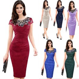 Barato Vestido Vintage Xadrez Xl-2017 Vintage Mulheres Elegantes Lace Bordado Cocktail Office Lady Work Business Pencil Bodycon Vestidos Evening Party Dress FS1091