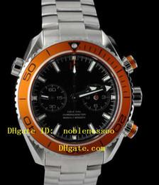 Bezel Quartz Black Canada - New Men's Orange Bezel Black Dial Quartz 232.30.46.51.01.002 Planet Ocean Chronograph Watch Steel Mens 600M Co-Axial Luxury Watches