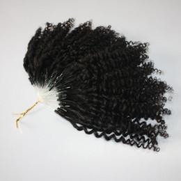 Toptan satış CE belgeli kinky Jerry Kıvırcık Mikro Yüzük Saç Uzantıları 400 s / grup Kinky Kıvırcık Döngü Saç Doğal Renk Döngü saç