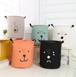 China INS Bag INS Cartoon Bear Laundry Bag Kids Room Storage Bags for Toys Household Foldable Laundry Basket Cloth Hamper KKA2318 supplier baskets for clothes storage suppliers