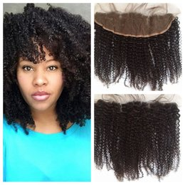 kinky brazilian knots 2019 - Mongolian Afro Kinky Curly Lace Frontal Closure Bleached Knots 13x4 With Baby Hair Can Be Dyed 100% Human Hair LaurieJ H